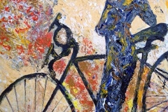 Woman with Bicycle #1, Acrylic (16x20) in private collection